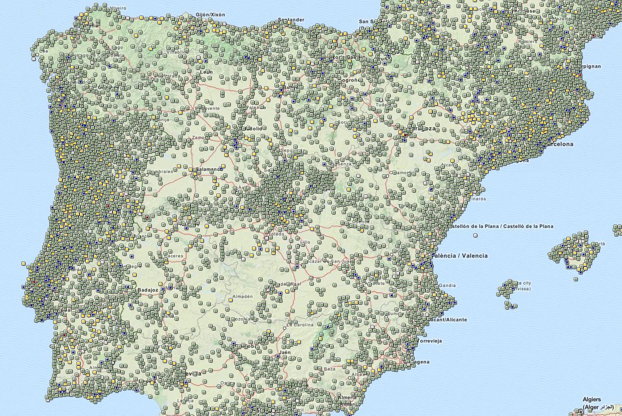 Geocaches na Península Ibérica.