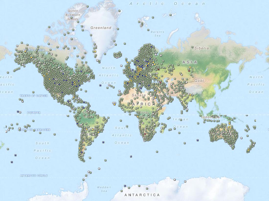 Geocaches em todo o planeta.
