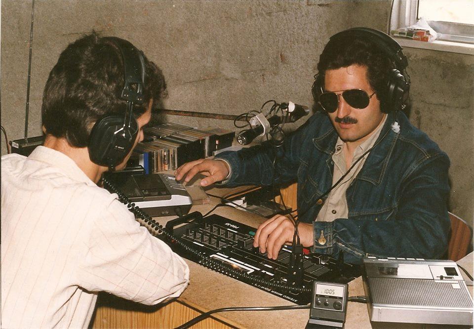 1986 - José Francisco Caseiro no estúdio da RMC, no CCRC (foto Espólio Caruspinus).