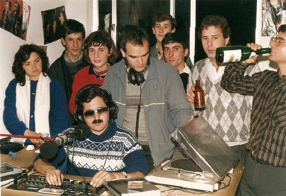 1987/88 - Passagem de ano no estúdio da RMC (foto Espólio Caruspinus).