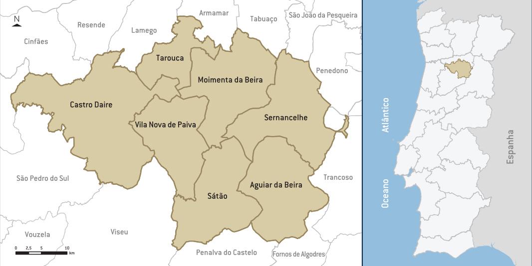 Mapa do território em análise (Sete Concelhos, Um Território).