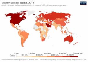 Uso anual de energia em kWh, por país e por pessoa.